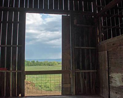 Barn Door Blue Sky Art Print by Dawn Whitmore