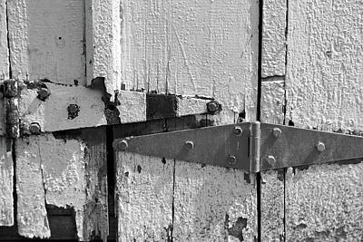 Photograph - Barn Door Hinges 3 Bw by Mary Bedy