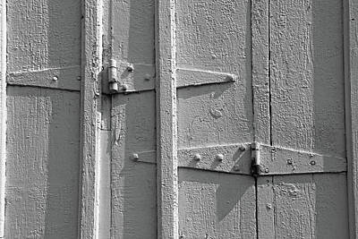 Photograph - Barn Door Hinges Bw by Mary Bedy