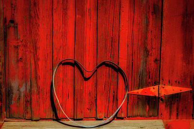 Photograph - Barn Door With Heart by Garry Gay