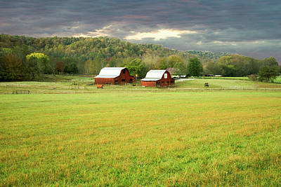 Photograph - Barn Duo Under Clearing Sky by Douglas Barnett