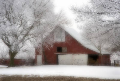 Barn Fog And Hoarfrost Art Print by Fred Lassmann