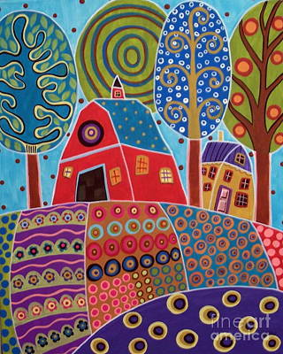 Folk Art Flowers Painting - Barn Garden Landscape by Karla Gerard