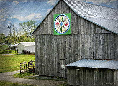 Shed Digital Art - Barn Hex Sign by Brian Wallace