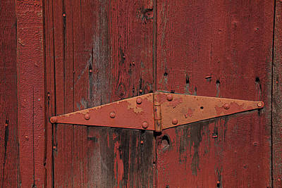 Red Doors Photograph - Barn Hinge by Garry Gay