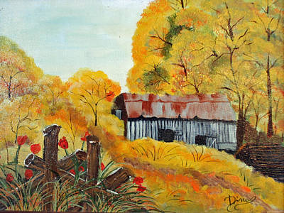 Painting - Barn In Autumn by Dina Jacobs