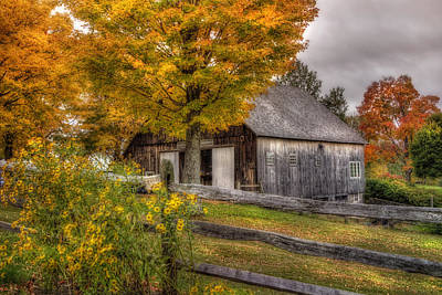 Barn In Autumn Print by Joann Vitali