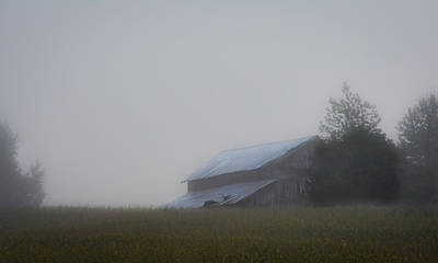 Photograph - Barn In Kentucky Summer Morning Fog by Greg Jackson
