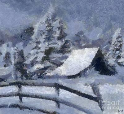 Barn In Snow Art Print by Dragica Micki Fortuna