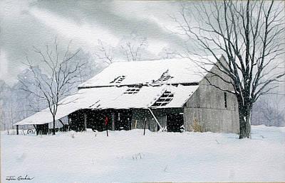 Barn In Snow Original