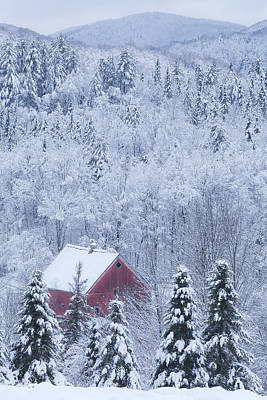 Photograph - Barn In Snowy Landscape by Alan L Graham