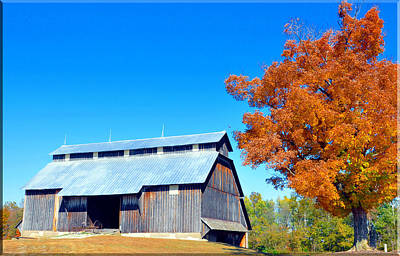 Barn In The Fall  Print by Brittany H