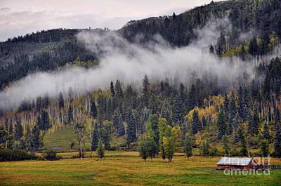 Barn In The Mist Art Print