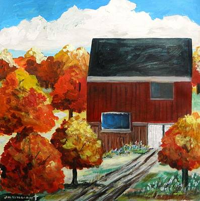 Simplicity Drawing - Barn In The Orchard by John Williams