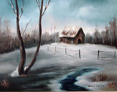 Painting - Barn In The Snow by Jeanine Dahlquist