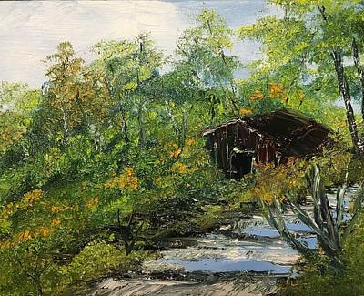 Painting - Barn In The Woods by David Bartsch