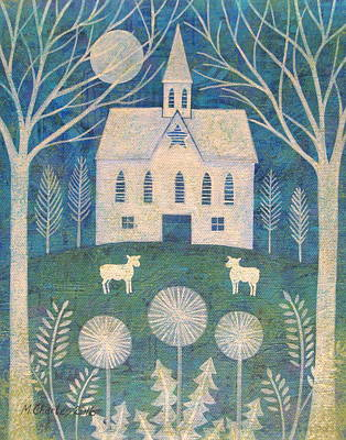 White Barn Painting - Barn In The Woods by Mary Charles