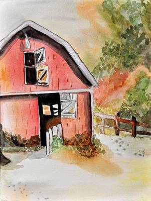 Painting - Barn In Watercolor by JAMART Photography