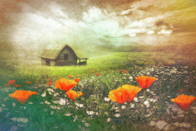 Photograph - Barn In Wildflowers Textured Watercolor Painting by Debra and Dave Vanderlaan