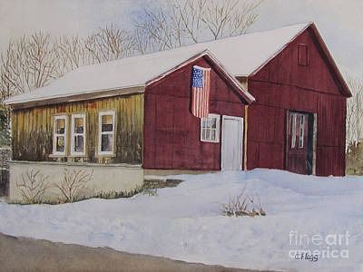 Painting - Barn In Winter by Carol Flagg