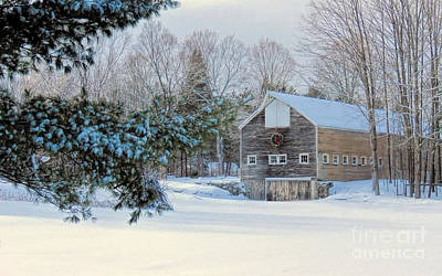 Photograph - Barn In Winter In Hollis New Hampshire  by Janice Drew