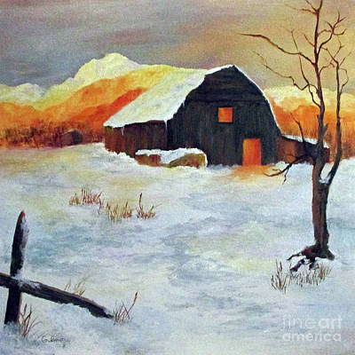Painting - Barn In Winter by Roseann Gilmore
