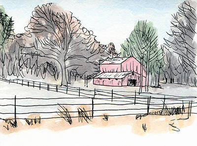 Barn In Winter Woods Print by R Kyllo