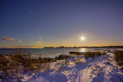 Photograph - Barn Island Moonrise by Kirkodd Photography Of New England