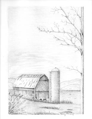 Old Barn Drawing - Old Dushore Barn by Kerry Facey
