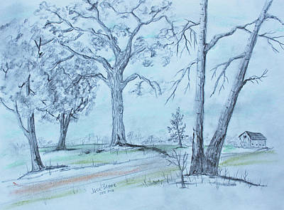 Drawing - Barn Lane by Jack G Brauer