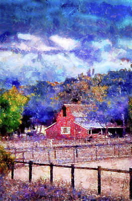 Mixed Media - Barn On Ca Highway 154 by Joseph Hollingsworth