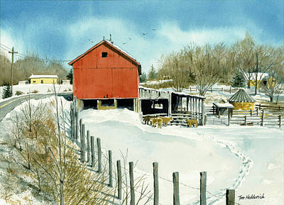 Red Barns Painting - Barn On County 12 by Tom Hedderich