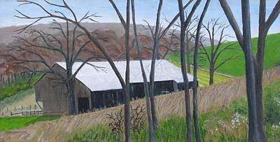 Painting - Barn On Hill Crystal Farm by Barb Pennypacker