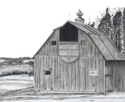 Old Barns Drawing - Barn On Hillside by Bryan Baumeister