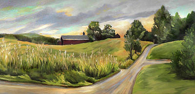 Painting - Barn On The Ridge In West Newbury Vermont by Nancy Griswold