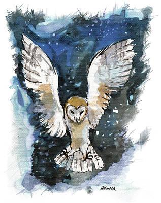 Painting - Barn Owl 2018 05 18 A by Angel Ciesniarska
