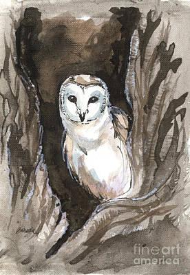 Painting - Barn Owl 2018 05 20 by Angel Ciesniarska