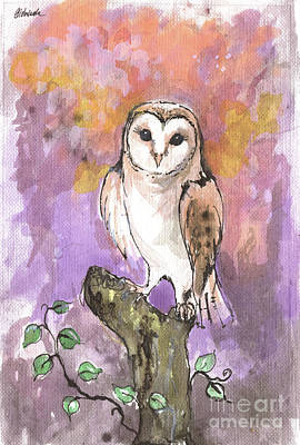 Painting - Barn Owl 2018 05 24 by Angel Ciesniarska