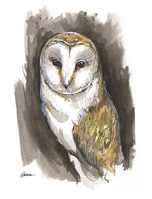 Painting - Barn Owl 2018 05 26 by Angel Ciesniarska