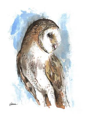 Painting - Barn Owl 2018 05 28 by Angel Ciesniarska