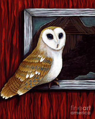 Painting - Barn Owl Beauty by Rebecca Parker