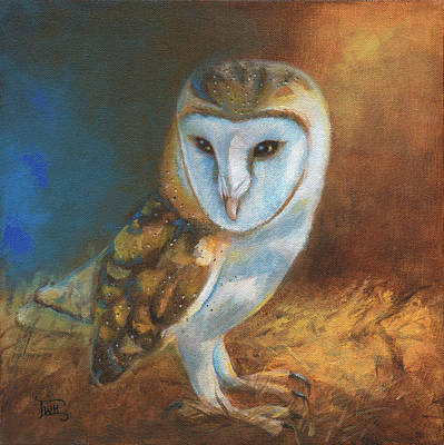 Painting - Barn Owl Blue by Terry Webb Harshman