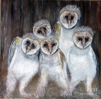 Painting - Barn Owl Chicks by Lyric Lucas