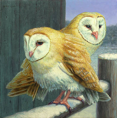 Barn Owl Couple Original by James W Johnson