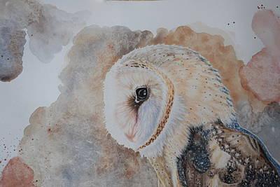 Uil Drawing - Barn Owl by Eveline Van Dooren