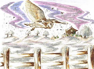 Mixed Media - Barn Owl Flying In The Snow by Teresa White