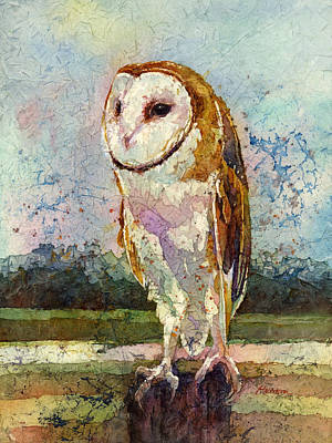 Contemplative Painting - Barn Owl by Hailey E Herrera