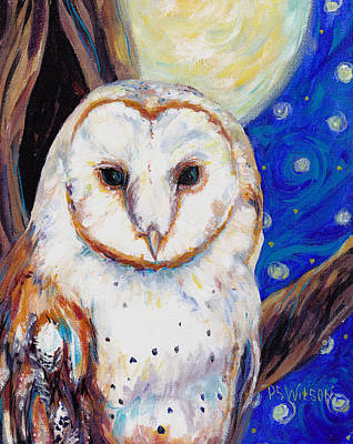 Barn Owl Painting - Barn Owl In Starry Night by Peggy Wilson
