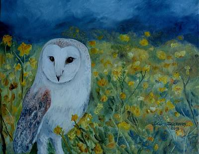 Painting - Barn Owl In The Wildflowers by Julie Brugh Riffey