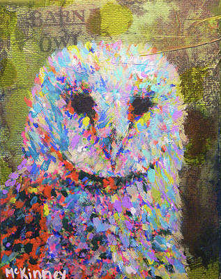 Mixed Media - Barn Owl by Lisa McKinney